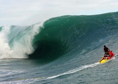 Heavy Teahupoo With Jet Ski Outfitted With LifeSled Ocean Rescue Board